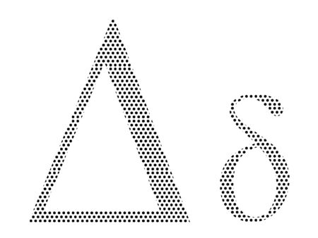 Simple Seamed Dotted Pattern Image of the Greek Alphabet Letter Delta