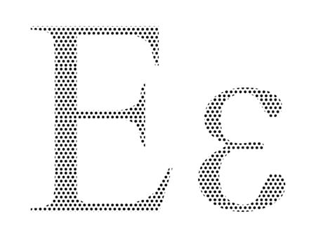 Simple Seamed Dotted Pattern Image of the Greek Alphabet Letter Epsilon Ilustrace