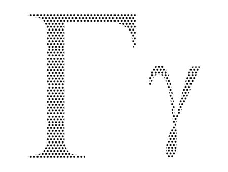 Simple Seamed Dotted Pattern Image of the Greek Alphabet Letter Gamma Ilustrace