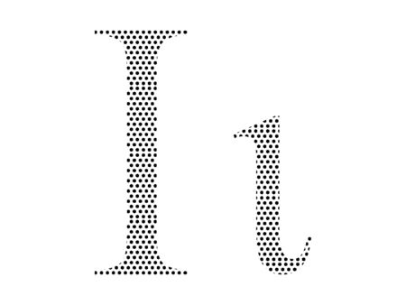 Simple Seamed Dotted Pattern Image of the Greek Alphabet Letter Iota