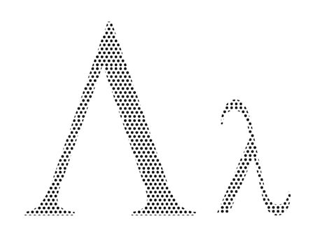 Simple Seamed Dotted Pattern Image of the Greek Alphabet Letter Lambda