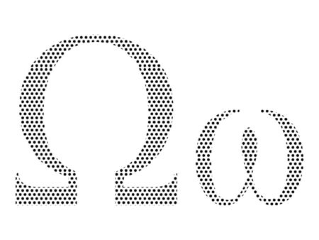 Simple Seamed Dotted Pattern Image of the Greek Alphabet Letter Omega