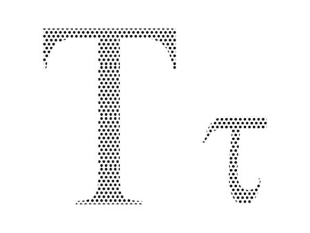 Simple Seamed Dotted Pattern Image of the Greek Alphabet Letter Tau Ilustrace