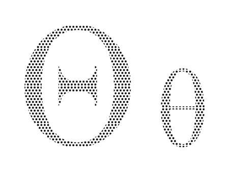 Simple Seamed Dotted Pattern Image of the Greek Alphabet Letter Theta Ilustração