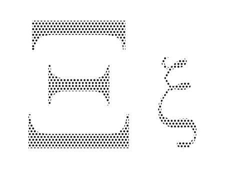 Simple Seamed Dotted Pattern Image of the Greek Alphabet Letter Xi