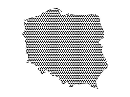 Simple Seamed Dotted Pattern Map of Poland