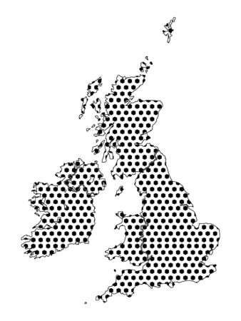 Simple Seamed Dotted Pattern Map of United Kingdom and Ireland