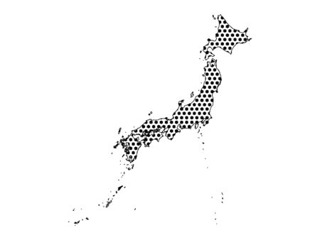 Simple Seamed Dotted Pattern Map of Japan