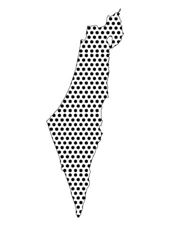 Simple Seamed Dotted Pattern Map of Israel Banque d'images - 136621535