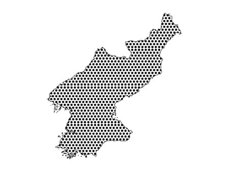 Simple Seamed Dotted Pattern Map of North Korea