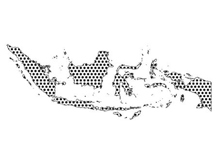 Simple Seamed Dotted Pattern Map of Indonesia