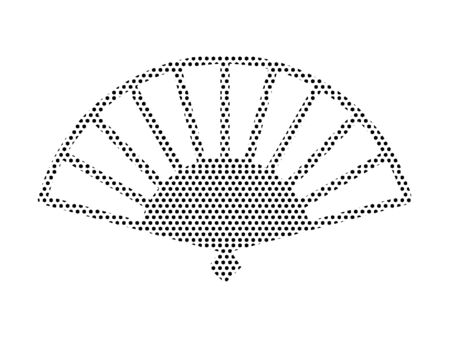 Simple Seamed Dotted Pattern Symbol of Japanese Hand Fan Ilustrace