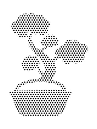 Simple Seamed Dotted Pattern Symbol of Japanese Bonsai Tree