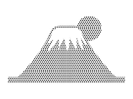 Simple Seamed Dotted Pattern Symbol of Japanese Fuji Mountain Ilustrace