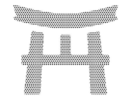 Simple Seamed Dotted Pattern Symbol of Japanese Architecture Script