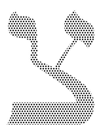 Simple Seamed Dotted Pattern Image of the Hebrew Alphabet Letter Tzadei
