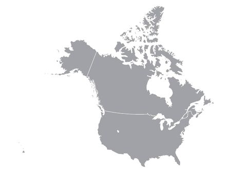 Silver Detailed Flat Vector Map of North America (USA and Canada) without Mexico