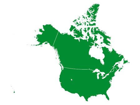 Green Detailed Flat Vector Map of North America (USA and Canada) without Mexico  イラスト・ベクター素材