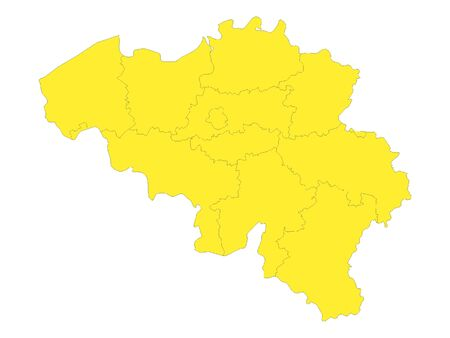 Yellow Detailed Flat Vector Map of Belgium with Provinces 向量圖像