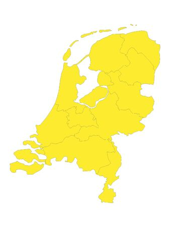 Yellow Flat Vector Map of Netherlands with Provinces
