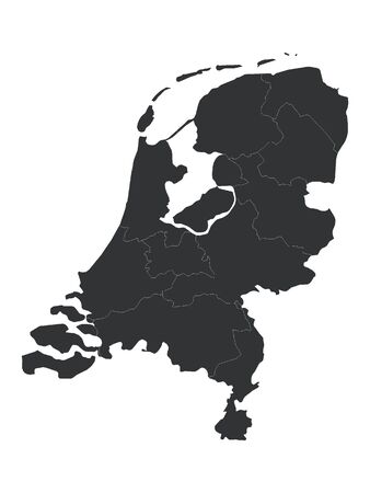 Black Detailed Flat Vector Map of Netherlands with Provinces