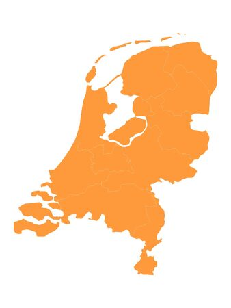 Orange Detailed Flat Vector Map of Netherlands with Provinces