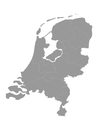Silver Detailed Flat Vector Map of Netherlands with Provinces