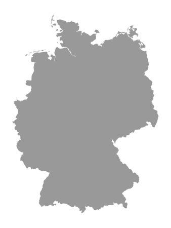 Silver Detailed Flat Vector Map of Germany Vektoros illusztráció