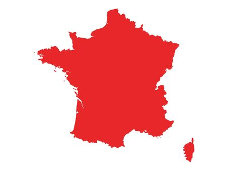 Red Detailed Flat Vector Map of France Banque d'images - 137773664