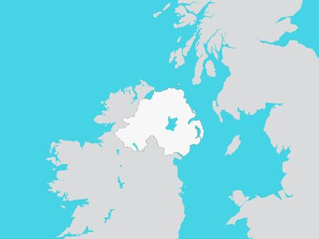 White Map of Northern Ireland with Surrounding Terrain