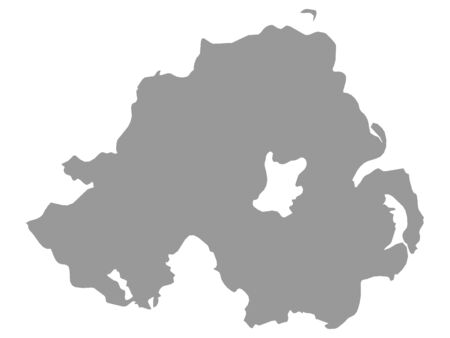 Gray Map of Northern Ireland on White Background Illustration