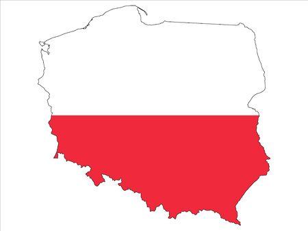 Połączona mapa i flaga Polski