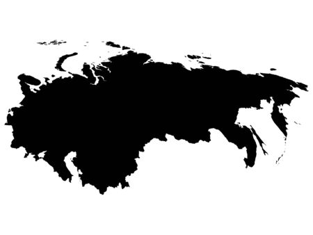 Black Map of USSR (Soviet Union) on White Background