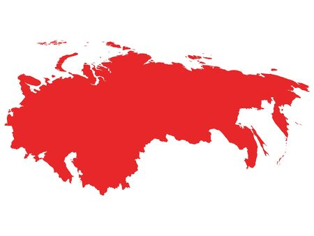 Red Map of USSR (Soviet Union) on White Background Иллюстрация