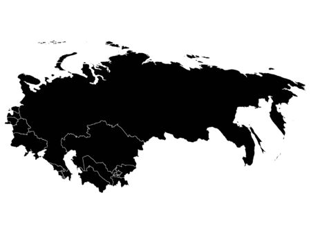Black Map of USSR (Soviet Union) With Member Countries on White Background Illustration