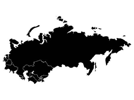 Black Map of USSR (Soviet Union) With Member Countries on White Background Иллюстрация