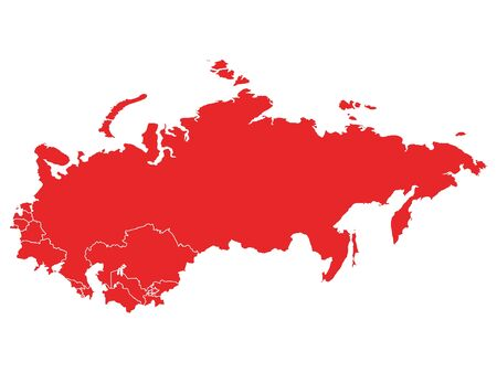 Red Map of USSR (Soviet Union) With Member Countries on White Background