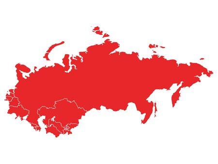 Rote Karte der UdSSR (Sowjetunion) mit Mitgliedsländern auf weißem Hintergrund Vektorgrafik