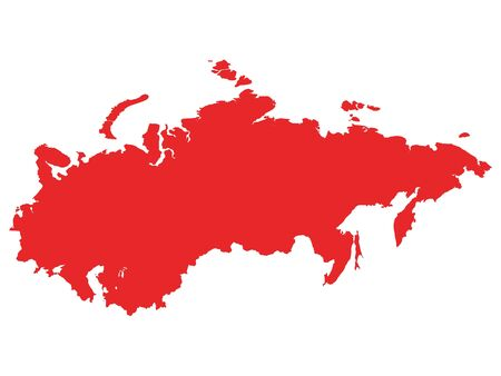 Red Map of USSR (Soviet Union) on White Background Illustration