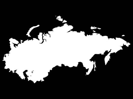 White Map of USSR (Soviet Union) on Black Background