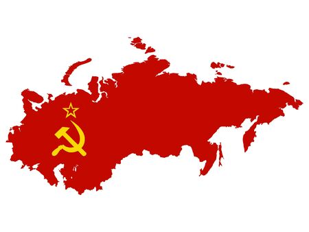 Combined Flag and Map of USSR (Soviet Union) on White Background  イラスト・ベクター素材