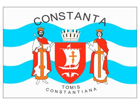 Flag of Romanian City of Contanta, Romania Archivio Fotografico - 137128224