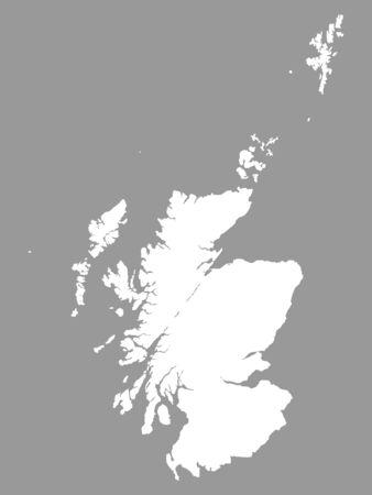Weiße Karte von Schottland auf grauem Hintergrund