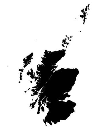 Schwarze Karte von Schottland auf weißem Hintergrund