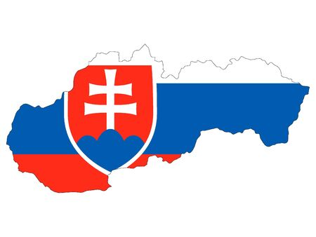 Combined Map and Flag of Slovakia