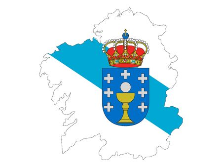 Flag and Map Combined of the Spanish Autonomous Community of Galicia