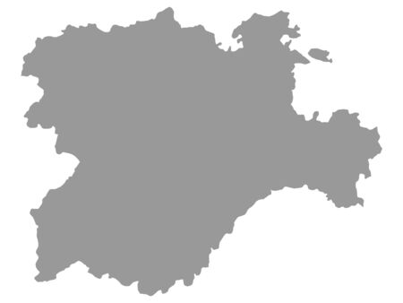 Grey Map of the Spanish Autonomous Community of Castile and Leon