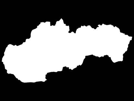 White Map of Slovakia on Black Background
