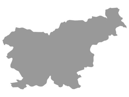 Gray Map of Slovenia on White Background