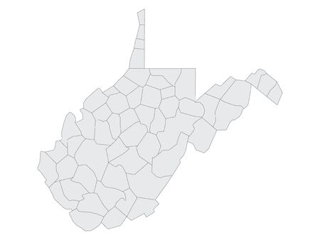 Gray Map on White Background of Counties of USA Federal State of West Virginia Vektoros illusztráció